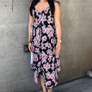 Black with Pink/White Floral Maxi Dress
